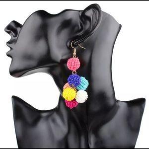 Beaded Ball Cluster Statement earrings
